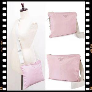 💖 Prada Crossbody Pink Handbag Messenger White